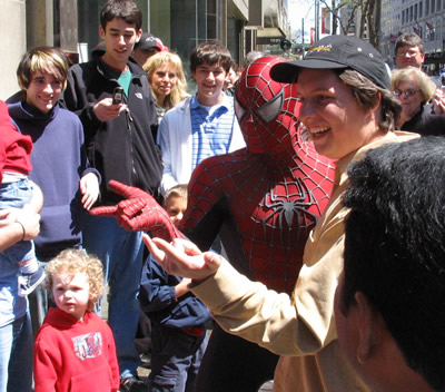 Spidey Poses With Fans!