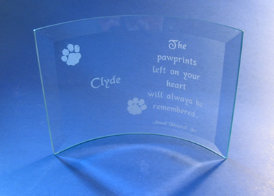 Glass gift from Animal Hospital Inc.